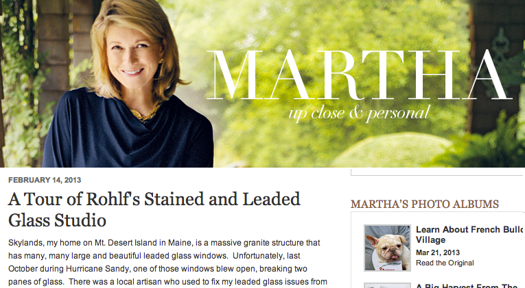 Martha Stewart Blogs about Rohlf Stained Glass visit